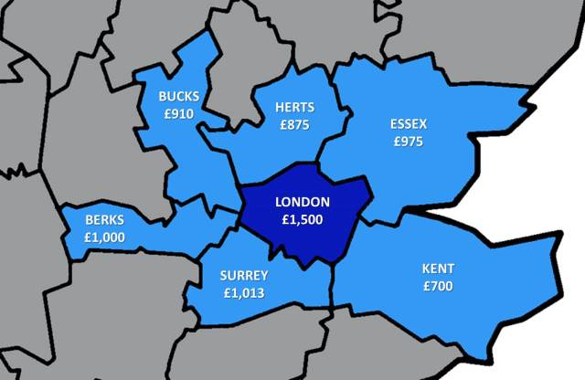 Average rents in counties around London. Picture by Abi Brady used under Creative Commons
